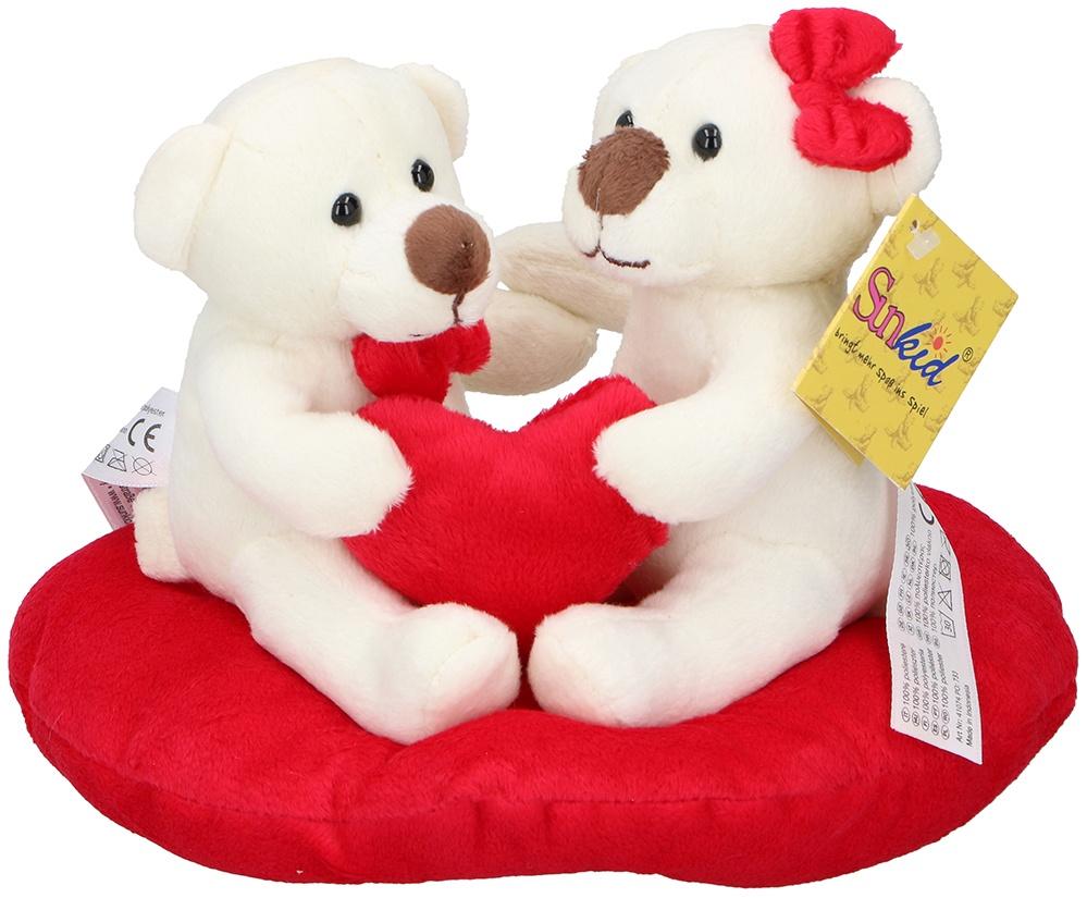 SUNKID  Plüsch Herz mit 2 Bären - gesamt ca 20x15x14cm