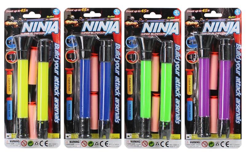 Blasrohr Ninja 4-fach sortiert - auf Karte ca 25x10cm