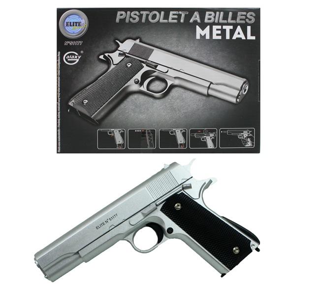 Kugelpistole aus Metall mit Magazin silber ca 22 cm