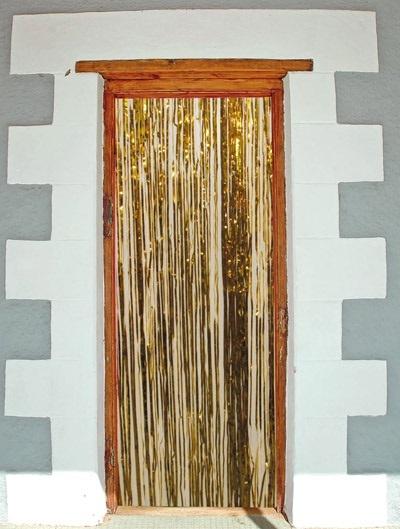 Türvorhang - Folie gold ca 2x1m