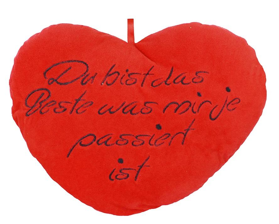 Plüsch Herz rot mit schwarzer Stickerei ca 40cm