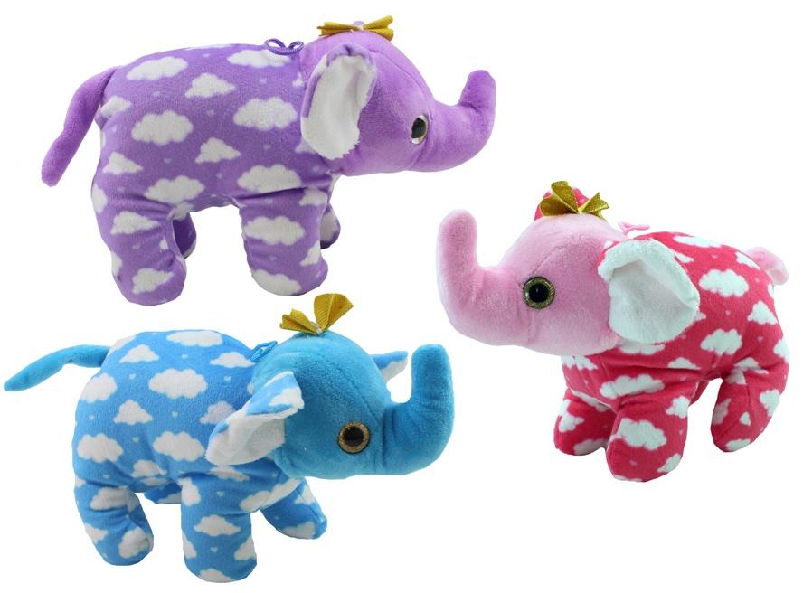 Elefant mit Glitzeraugen 3 Farben sortiert - ca 25cm lang