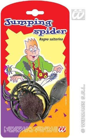 Scherz - spingende Spinne auf Karte ca 12x23cm