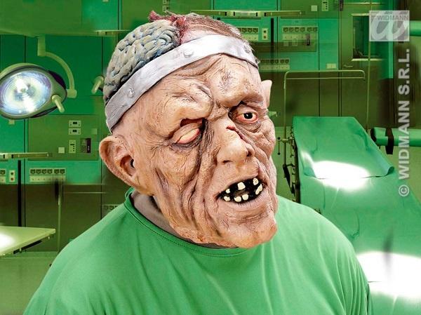 Maske - Gehirnchirurg mit Haar und Hirn