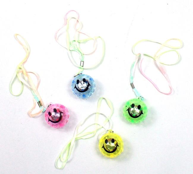 LED Smile Gesicht Ball leuchtend  4-fach sortiert - ca 4 cm