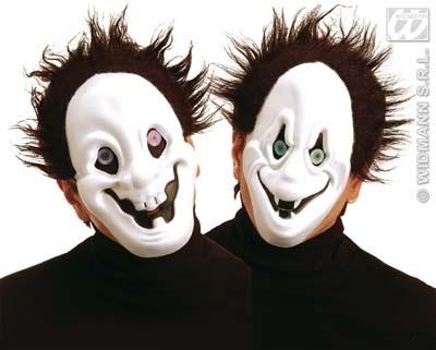 Maske - Geistermaske mit Haaren und Hologrammaugen 2-f sort