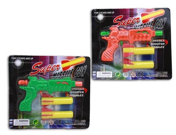 Pistole - Pfeilpistole 2-f sort. auf Karte ca 15x16,5x2,5 cm