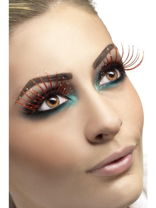 Augenwimpern rot mit Glitzer und Kleber