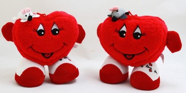 Herz mit Gesicht, Armen, Beinen und Maus 2-fach - ca 17cm