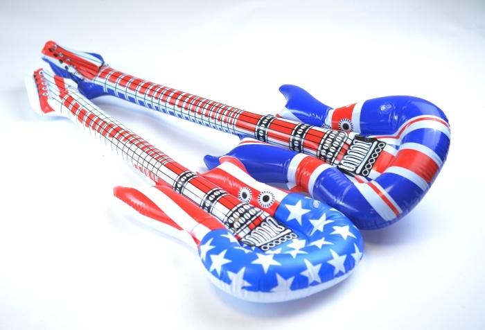 Gitarre aufblasbar 2-fach sort -USA und England- ca 100cm