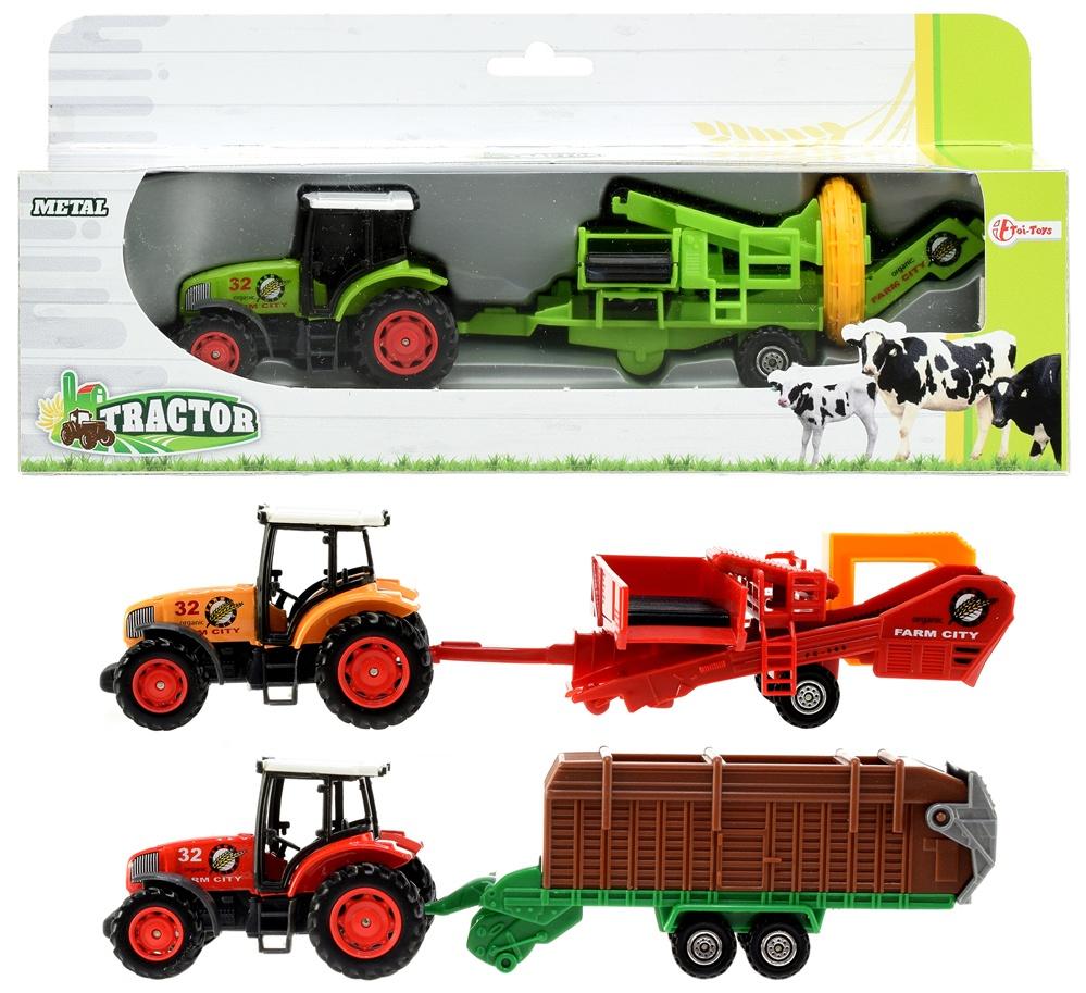 Traktor METALL mit Anhänger 3-fach sortiert