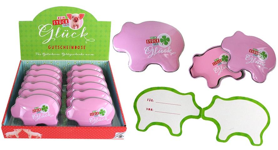 Stück vom Glück Gutscheindose Schwein ca 10x7,5x3cm