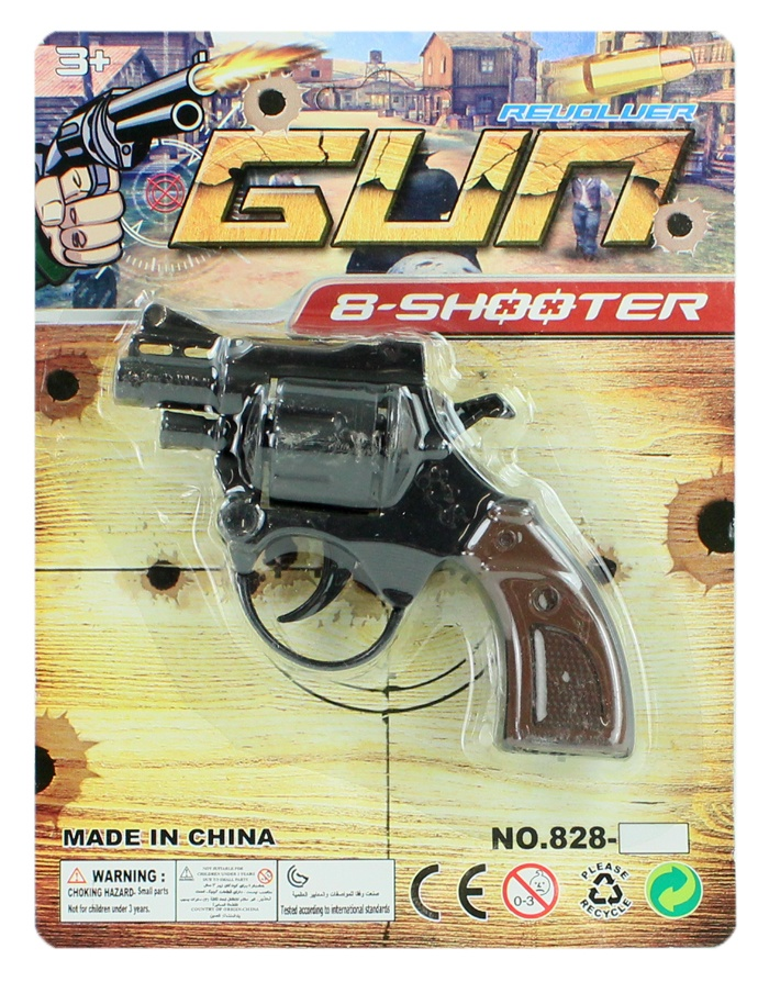 Pistole 8 Schuss auf Karte ca 18,5x14cm