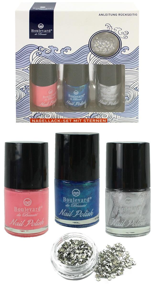 Nagellack-Set 3 Farben mit Sternen in Box ca 13x12,5x3,5cm
