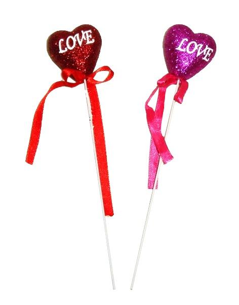 Glitzerherz 4 cm LOVE am Stiel, rot u lila sortiert