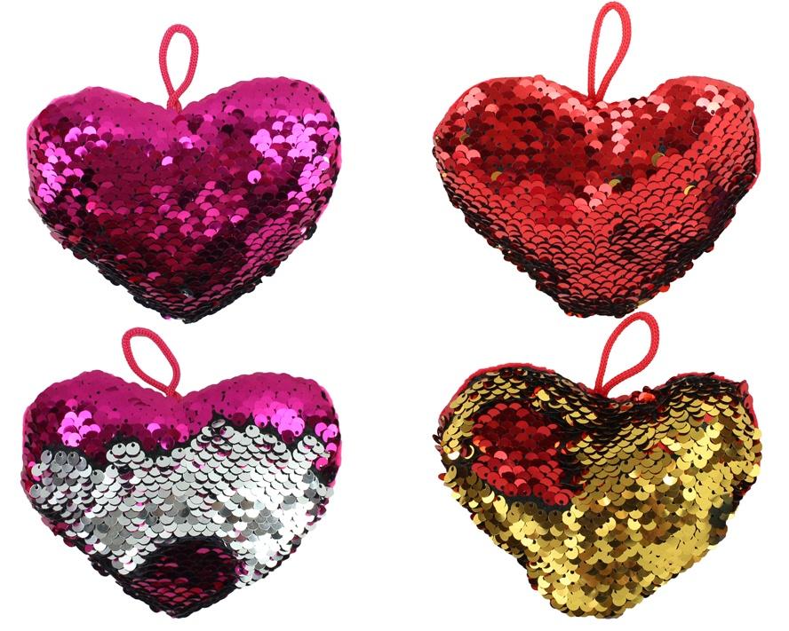 Herz mit Pailletten 2-fach sortiert ca 12 cm