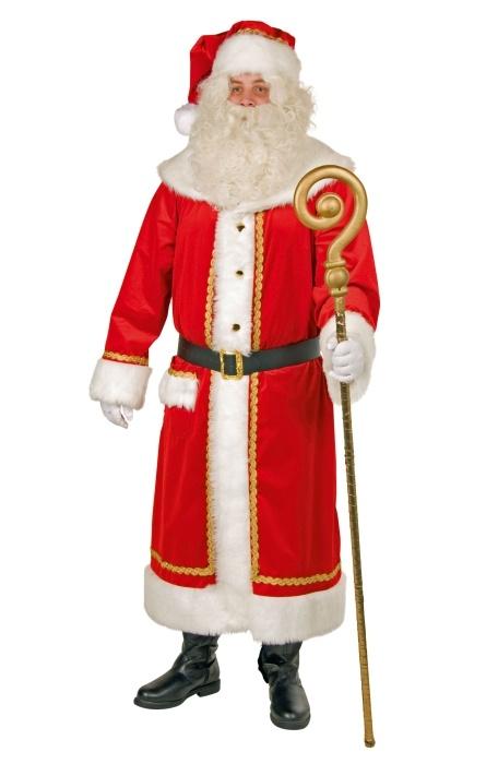 Weihnachtsmann-Samtmantel m. Mütze + Gürtel