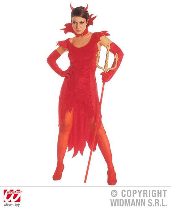 Kostüm Devil Lady  (Kleid, Handschuhe und Stehkragen)
