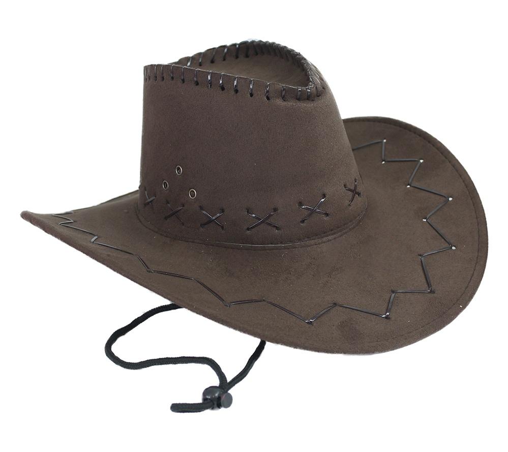 Cowboyhut braun Velourlederoptik