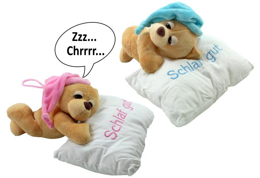 Schlafbär 2-fach sortiert mit Schnarchgeräusch auf Kissen