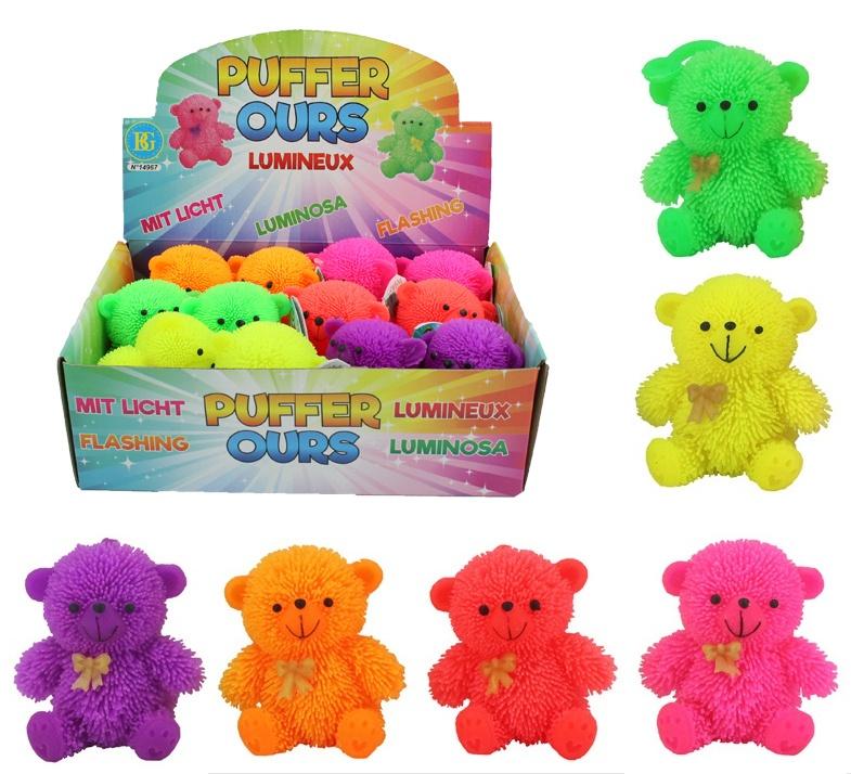 Fluffy Bär mit Licht  sitzend 6 farbig sortiert ca 85 mm