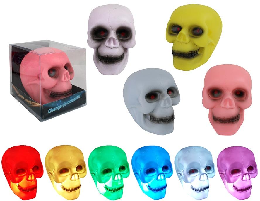 Totenkopf leuchtend 4 Farben sortiert ca 13x11x9 cm