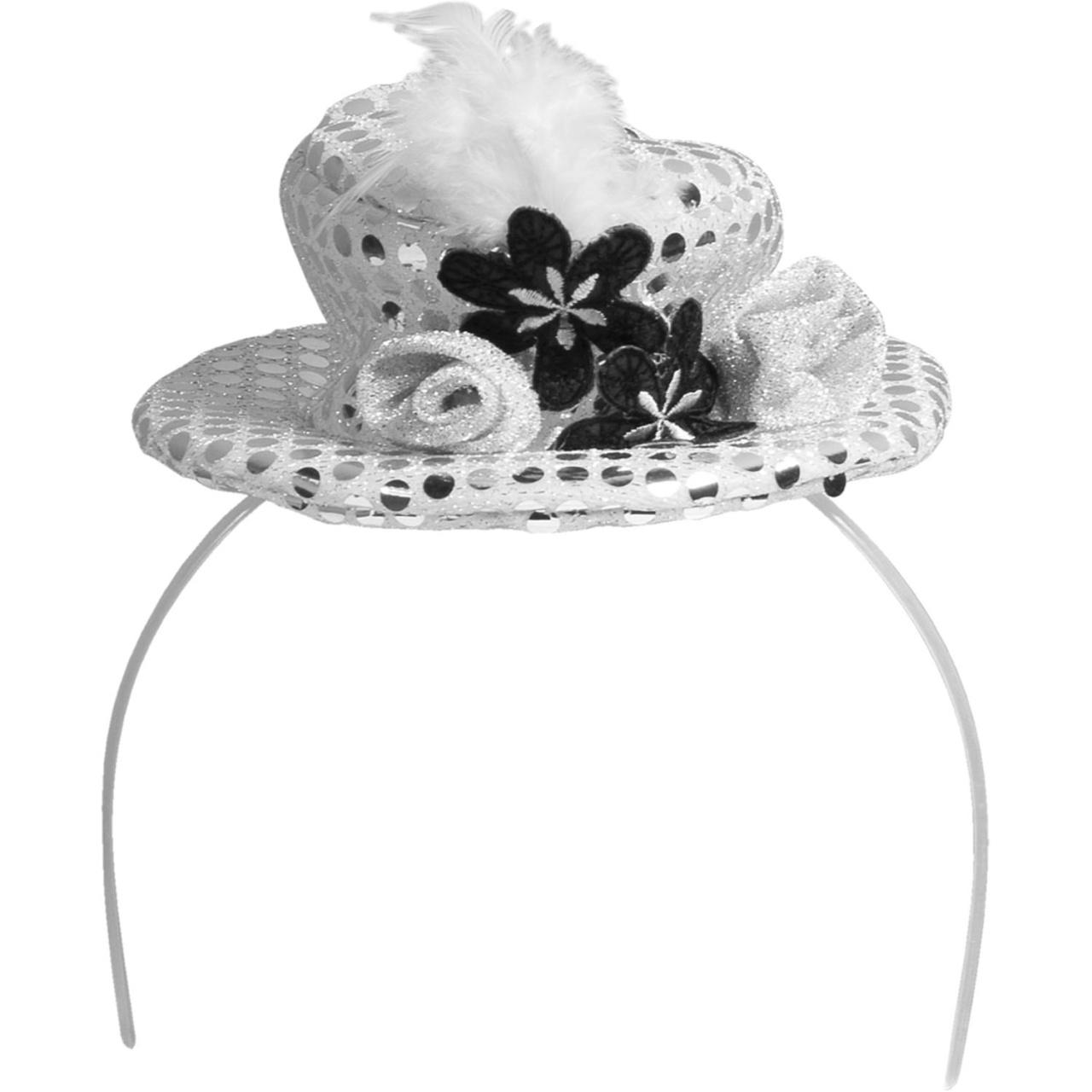 Haarreif mit silbernem Hut, Blume und Feder