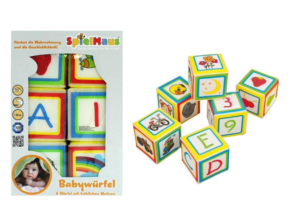 Spielmaus Soft Baby  Würfel - 6 Würfel im Set ca 7 x 7 cm