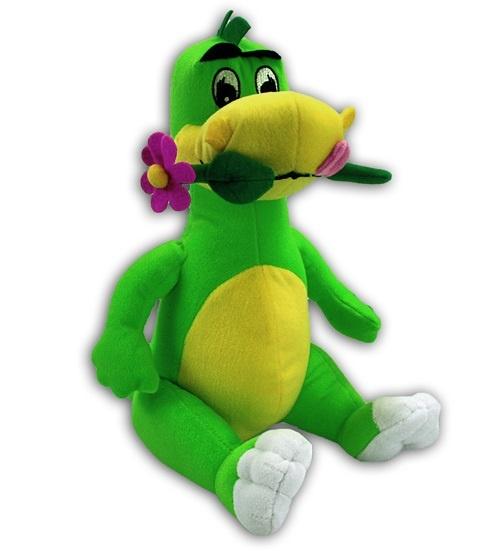 Dino mit Blume im Mund - sitzend ca 33cm