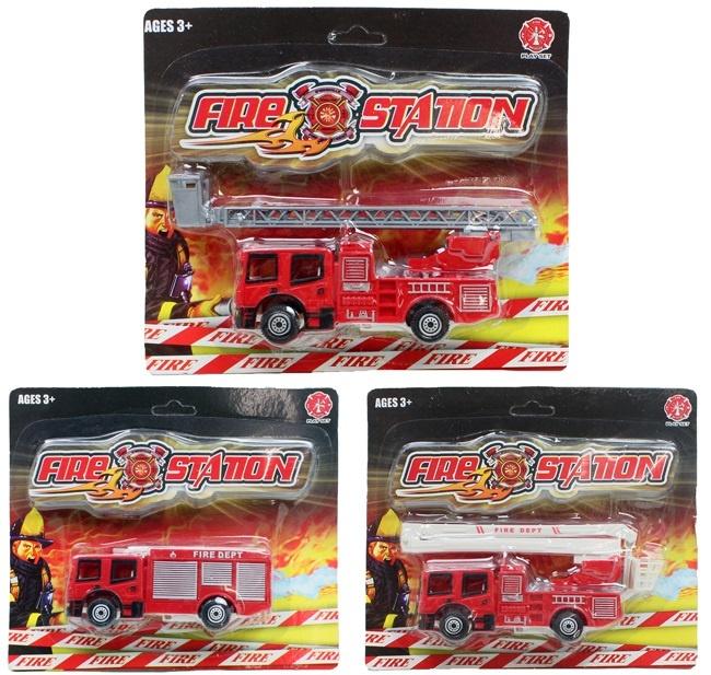 Feuerwehrauto 3-fach sortiert auf Karte ca 19x15cm