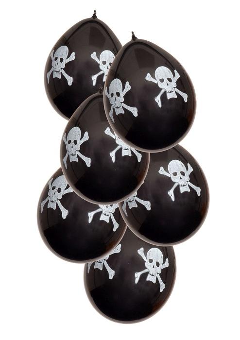 6 bedruckte Piratenballons, schwarz