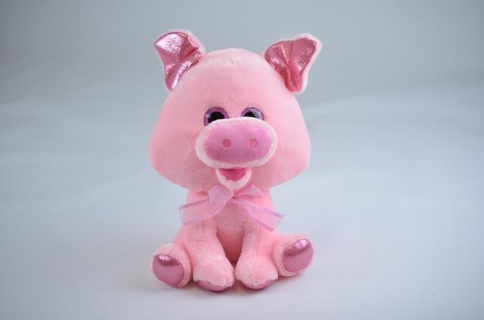 Schwein Glitzeraugen, glitzernde Ohren und Füße ca 42 cm