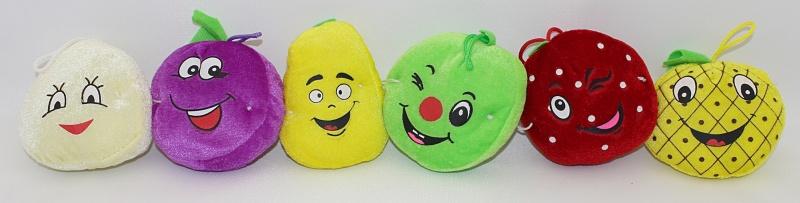 Plüsch Früchte 6 fach sortiert  mit  Gesichtern ca 9 cm