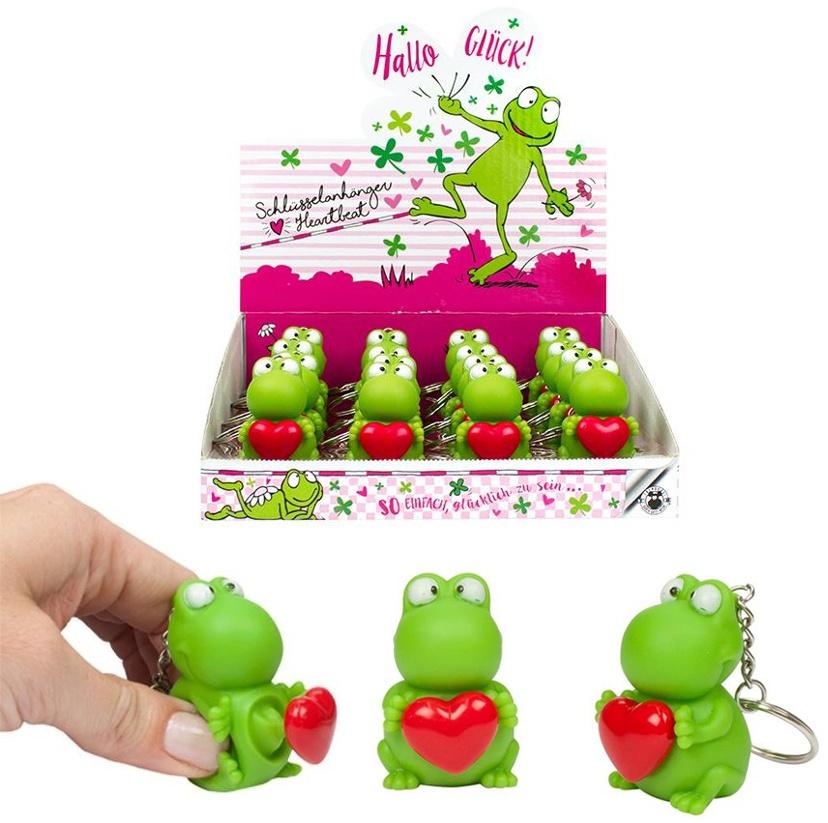HALLO GLÜCK Frosch mit Herz an Schlüsselanhänger - ca 4,5cm