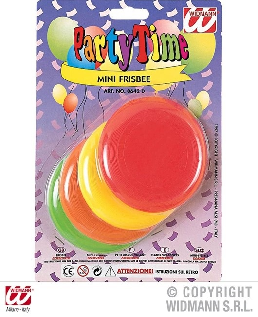 Frisbee mini 4er Set auf Karte ca 23x15cm