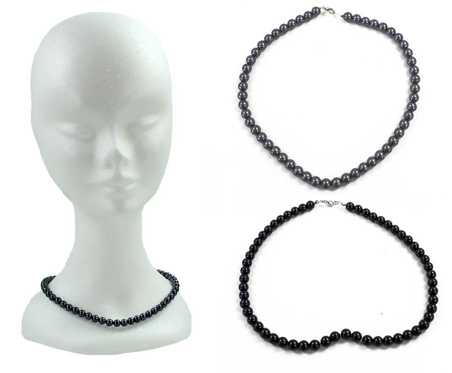 Perlenkette dunkel sortiert Umfang ca 40cm