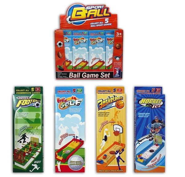 Sportspiel 4-fach sortiert - in Box ca 23,5x7,5x2,5cm