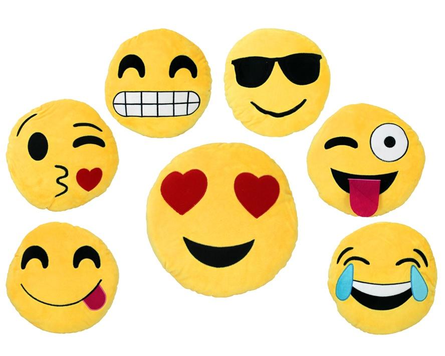 Kissen Smilie Emoticon 7-fach sortiert ca 28 cm