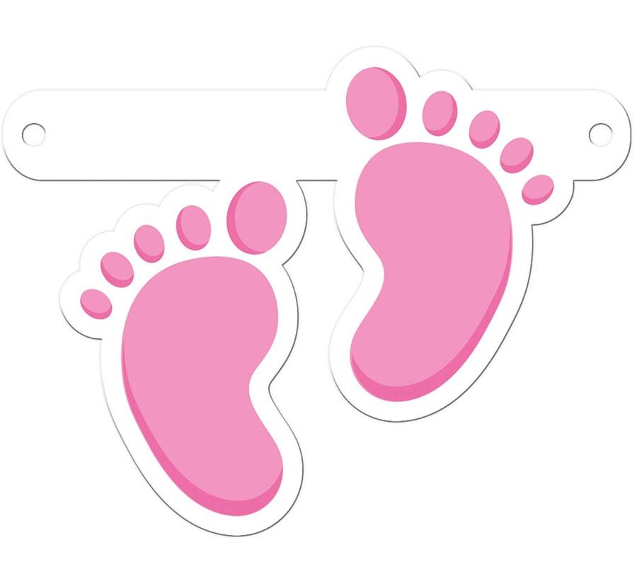 Bannergirlande Zubehör Fuß pink ca 14,5x11,5 cm