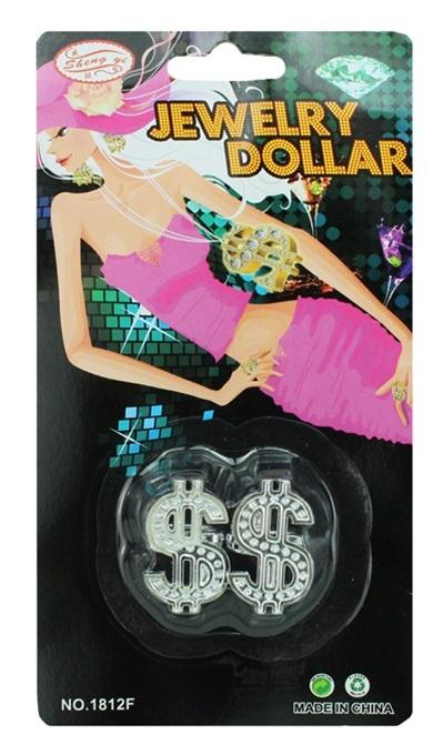 Ring Dollarzeichen 2 Ringe auf Karte - ca 19x10cm