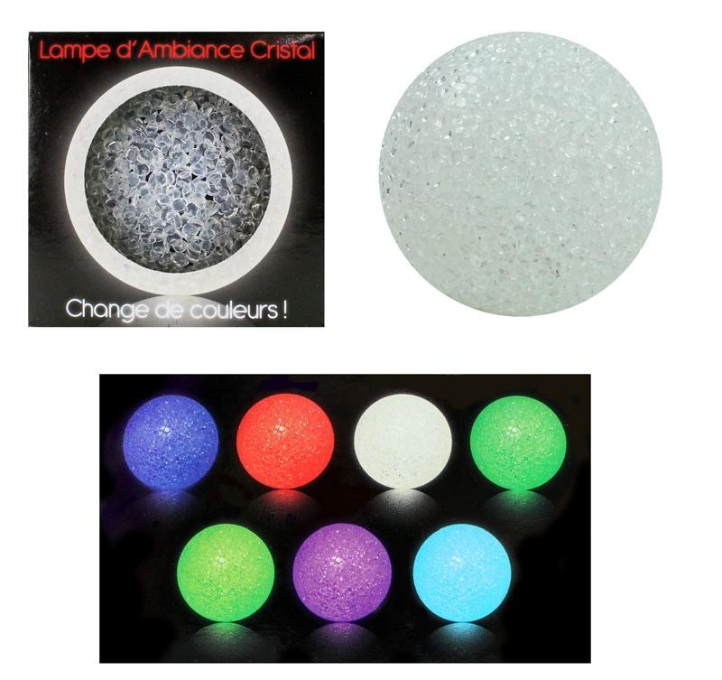 Leuchtball-Lampe Kristalloptik mit Farbwechsel ca 8cm
