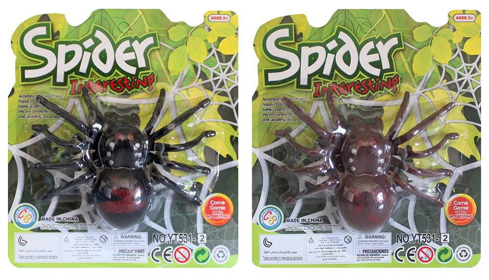 Spinne Kunststoff 2-farbig sortiert - auf Karte ca 18x16cm