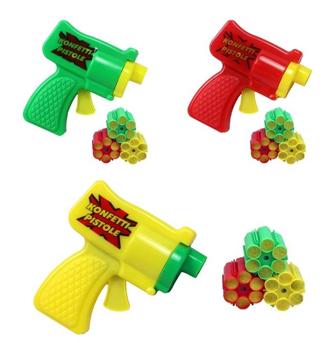 Konfettipistole mit 3 Patronen á 6 Schuss ca. 16 cm