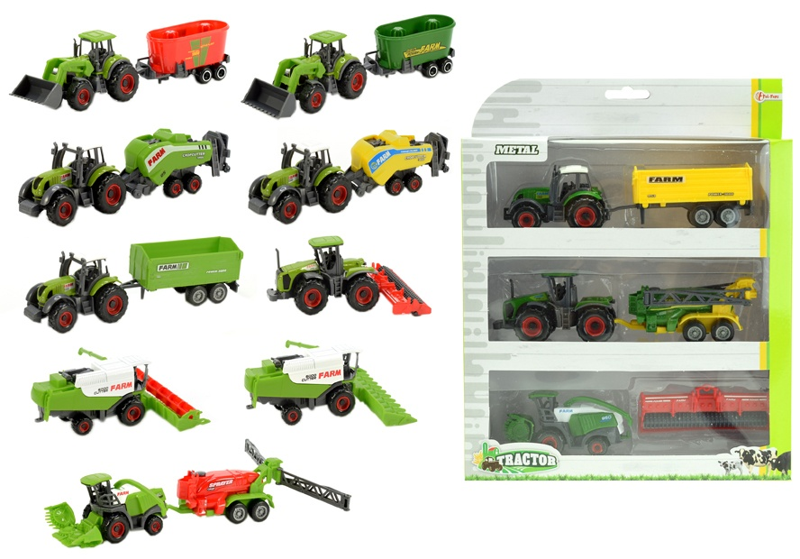 Traktor mit Anhänger METALL 3er Set 6-teilig