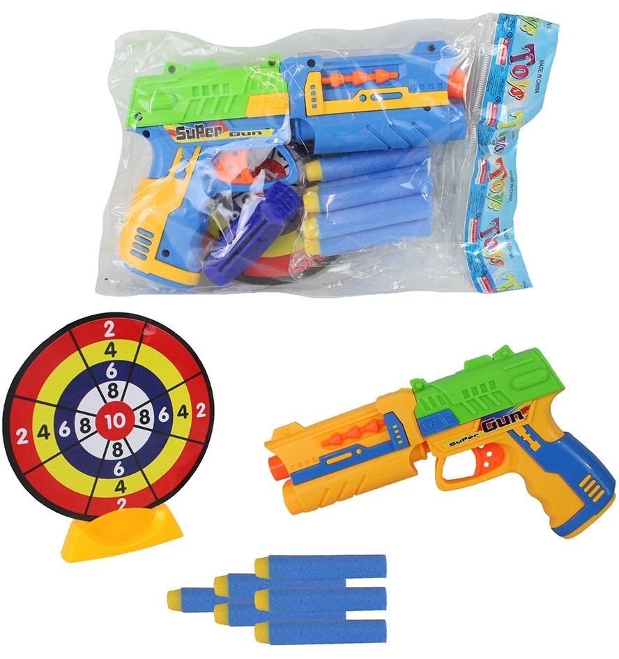 Pistole mit Softdarts 2 farbig sortiert ca 20 cm mit Zubehör