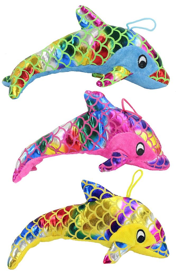 Delfin Glanzplüsch 3-fach sortiert ca 25cm