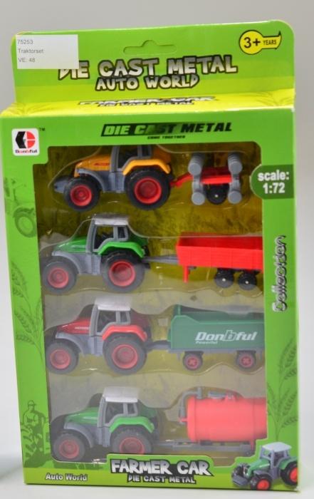 Traktorset METALL 4er Set Trakoren in Box ca 24 x 17 cm