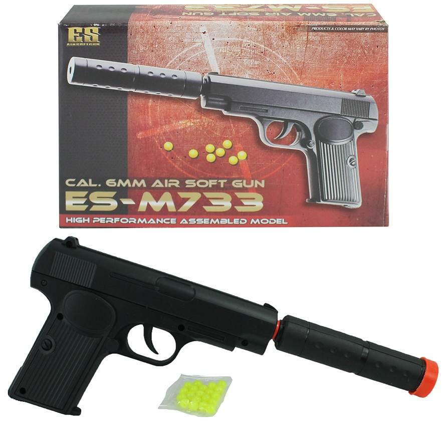 Pistole mit Verlängerungsrohr in Box ca 17,5 x 12 cm