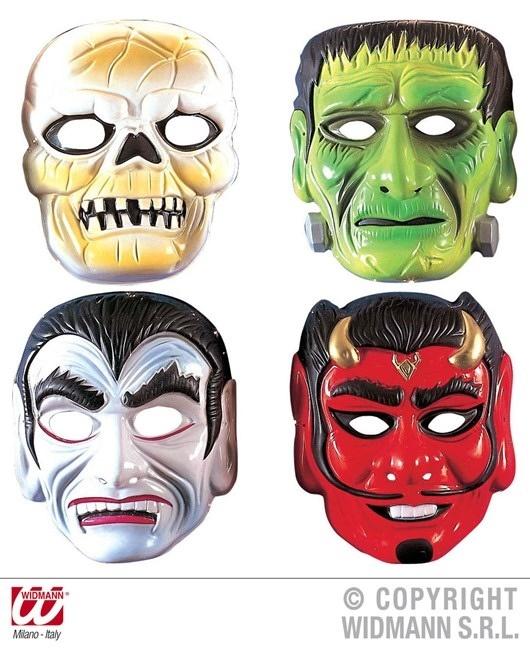 Horror Maske aus Plastik - in 4 Modellen sort.