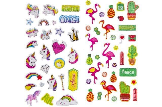 Sticker Einhorn und Flamingo sortiert - Bogen ca 17,5x9,5cm